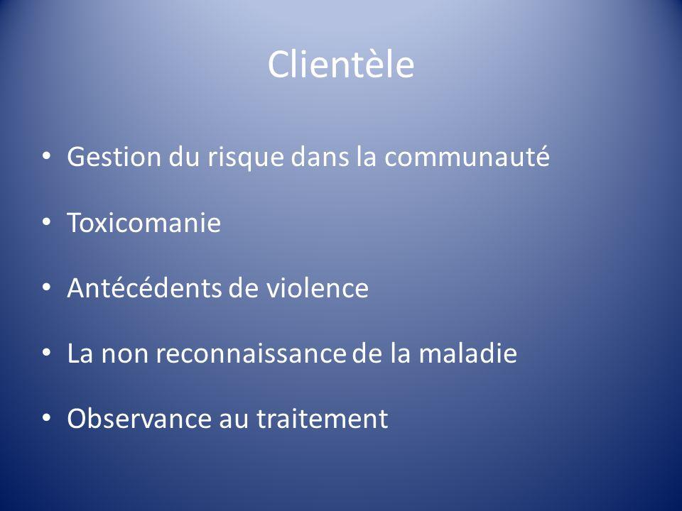 Clientèle Gestion du risque dans la communauté Toxicomanie Antécédents de violence La non reconnaissance de la maladie Observance au traitement