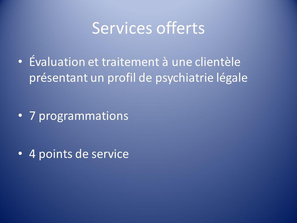 Services offerts Évaluation et traitement à une clientèle présentant un profil de psychiatrie légale 7 programmations 4 points de service