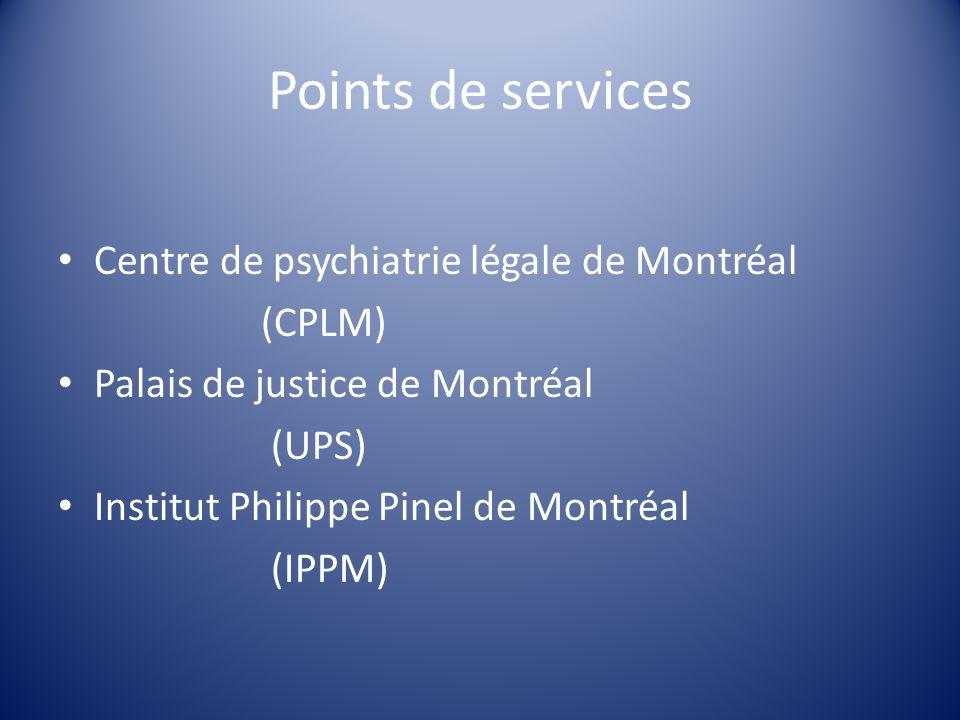 Points de services Centre de psychiatrie légale de Montréal (CPLM) Palais de justice de Montréal (UPS) Institut Philippe Pinel de Montréal (IPPM)