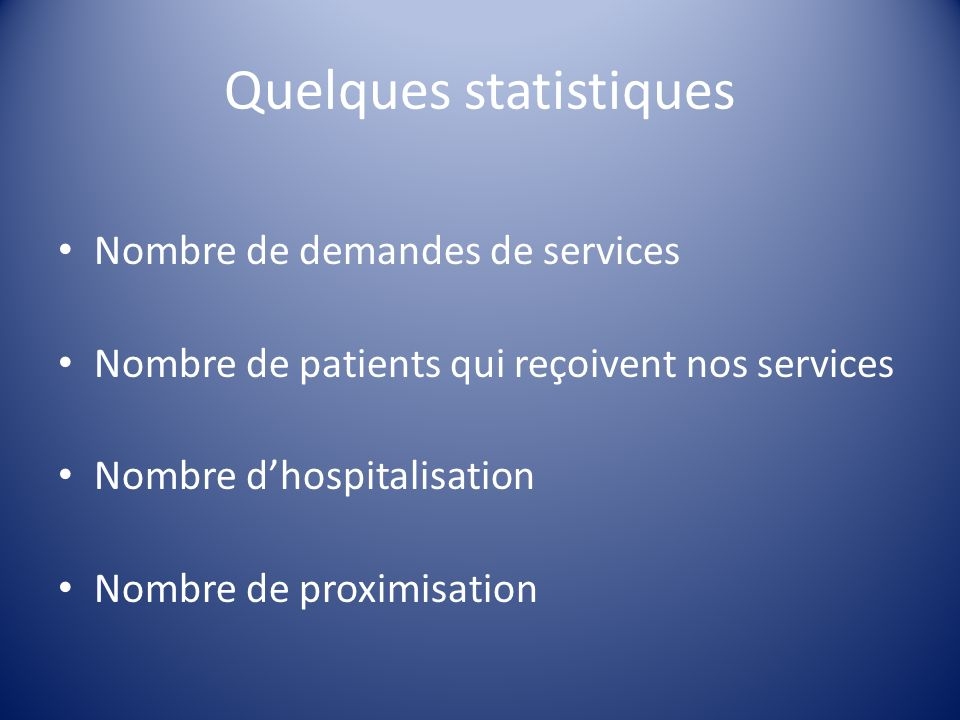 Quelques statistiques Nombre de demandes de services Nombre de patients qui reçoivent nos services Nombre dhospitalisation Nombre de proximisation