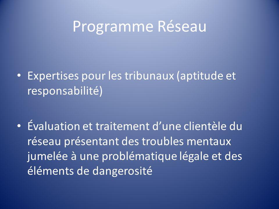 Programme Réseau Expertises pour les tribunaux (aptitude et responsabilité) Évaluation et traitement dune clientèle du réseau présentant des troubles