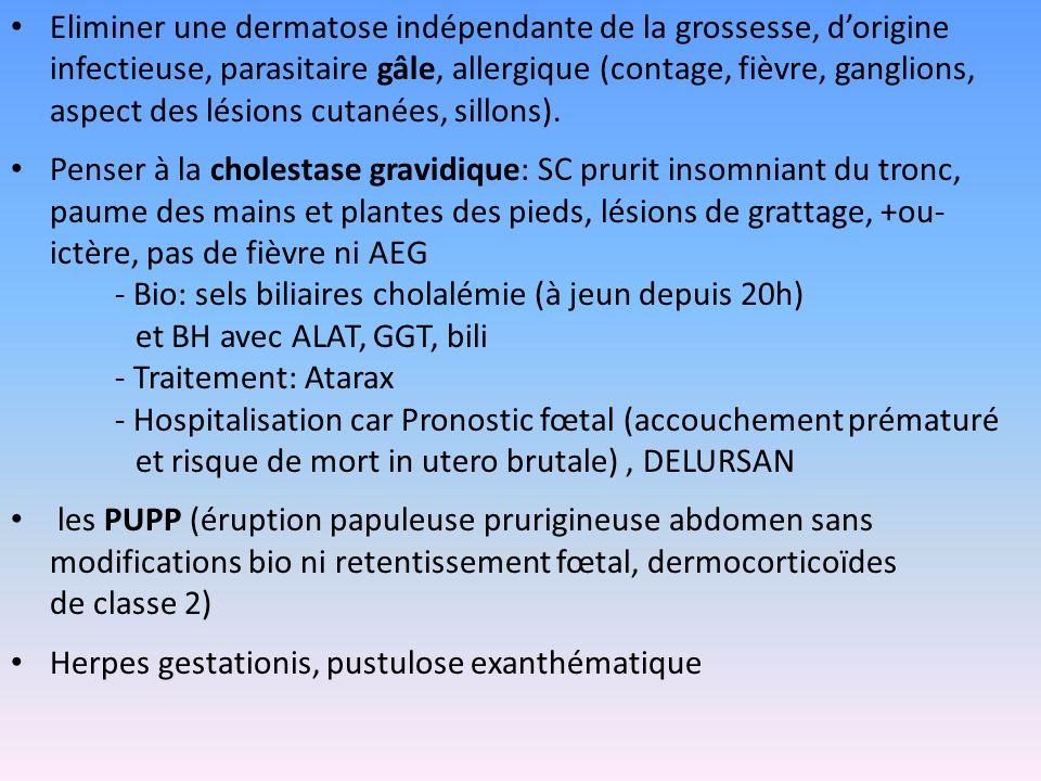Eliminer une dermatose indépendante de la grossesse, dorigine infectieuse, parasitaire gâle, allergique (contage, fièvre, ganglions, aspect des lésion