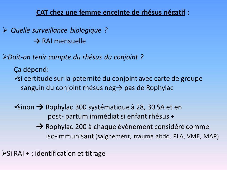 CAT chez une femme enceinte de rhésus négatif : Quelle surveillance biologique ? Ça dépend: si certitude sur la paternité du conjoint avec carte de gr