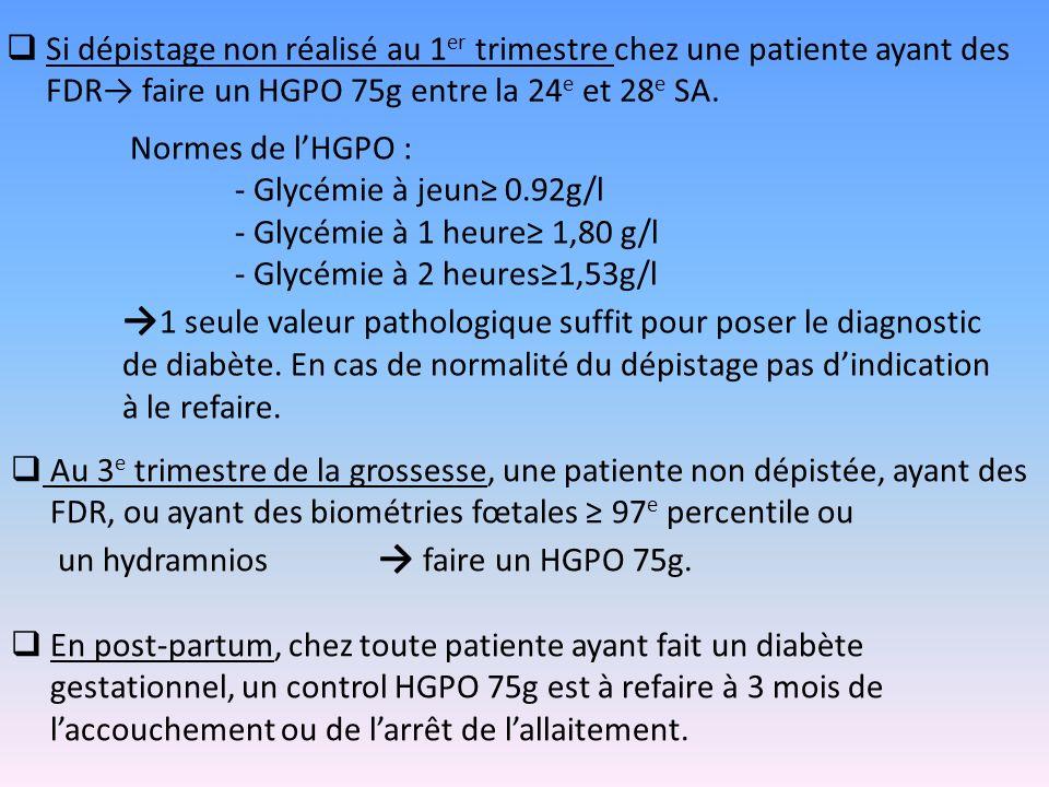 Si dépistage non réalisé au 1 er trimestre chez une patiente ayant des FDR faire un HGPO 75g entre la 24 e et 28 e SA. Normes de lHGPO : - Glycémie à