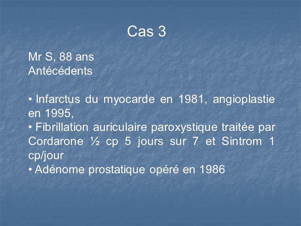 Mr S, 88 ans Antécédents Infarctus du myocarde en 1981, angioplastie en 1995, Fibrillation auriculaire paroxystique traitée par Cordarone ½ cp 5 jours sur 7 et Sintrom 1 cp/jour Adénome prostatique opéré en 1986 Cas 3