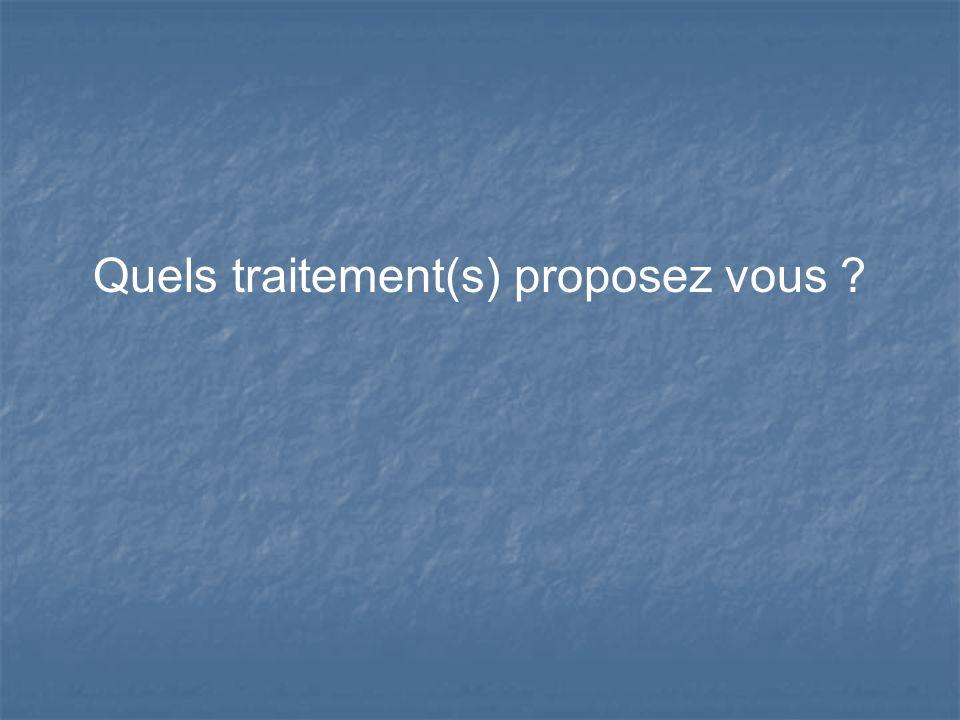 Quels traitement(s) proposez vous ?