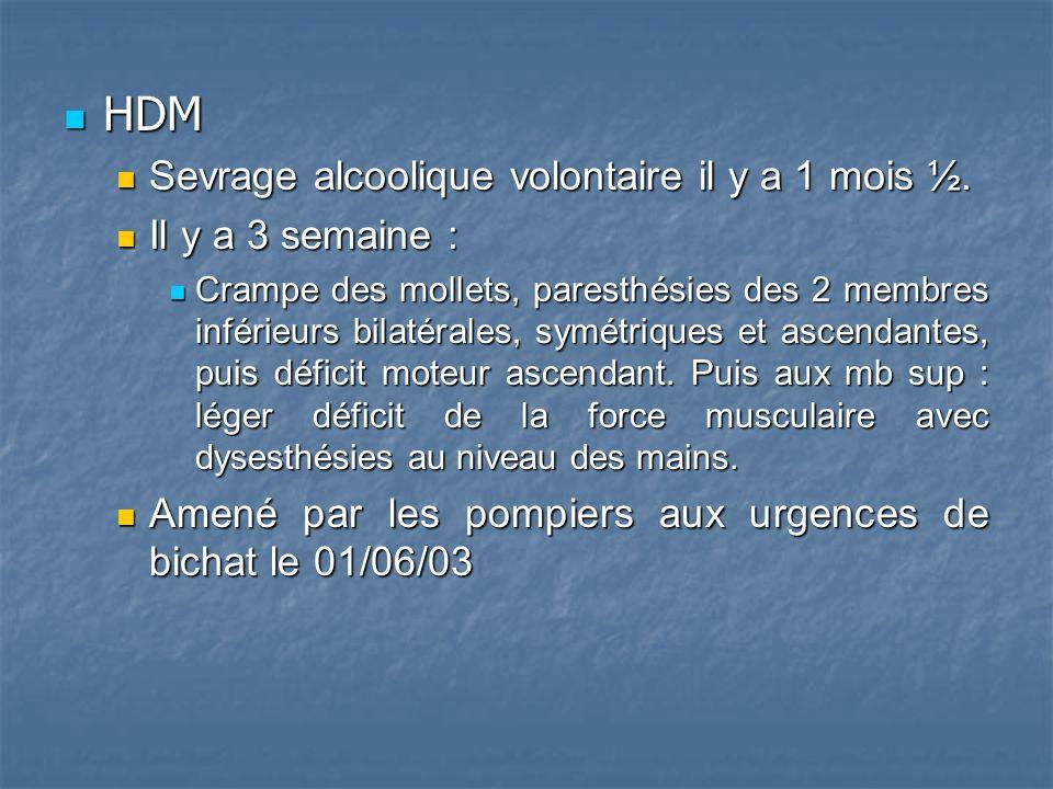 HDM HDM Sevrage alcoolique volontaire il y a 1 mois ½.