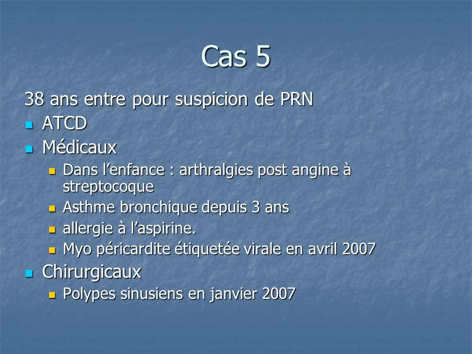 Cas 5 38 ans entre pour suspicion de PRN ATCD ATCD Médicaux Médicaux Dans lenfance : arthralgies post angine à streptocoque Dans lenfance : arthralgies post angine à streptocoque Asthme bronchique depuis 3 ans Asthme bronchique depuis 3 ans allergie à laspirine.