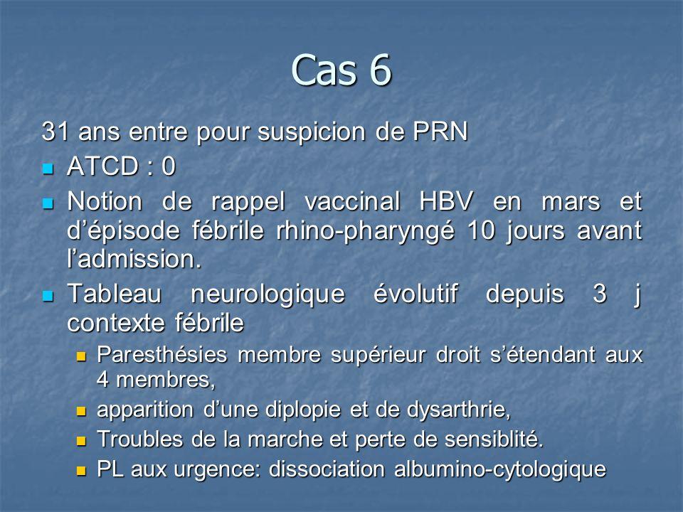 Cas 6 31 ans entre pour suspicion de PRN ATCD : 0 ATCD : 0 Notion de rappel vaccinal HBV en mars et dépisode fébrile rhino-pharyngé 10 jours avant ladmission.
