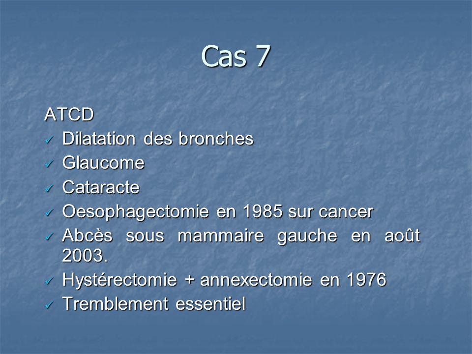 Cas 7 ATCD Dilatation des bronches Dilatation des bronches Glaucome Glaucome Cataracte Cataracte Oesophagectomie en 1985 sur cancer Oesophagectomie en