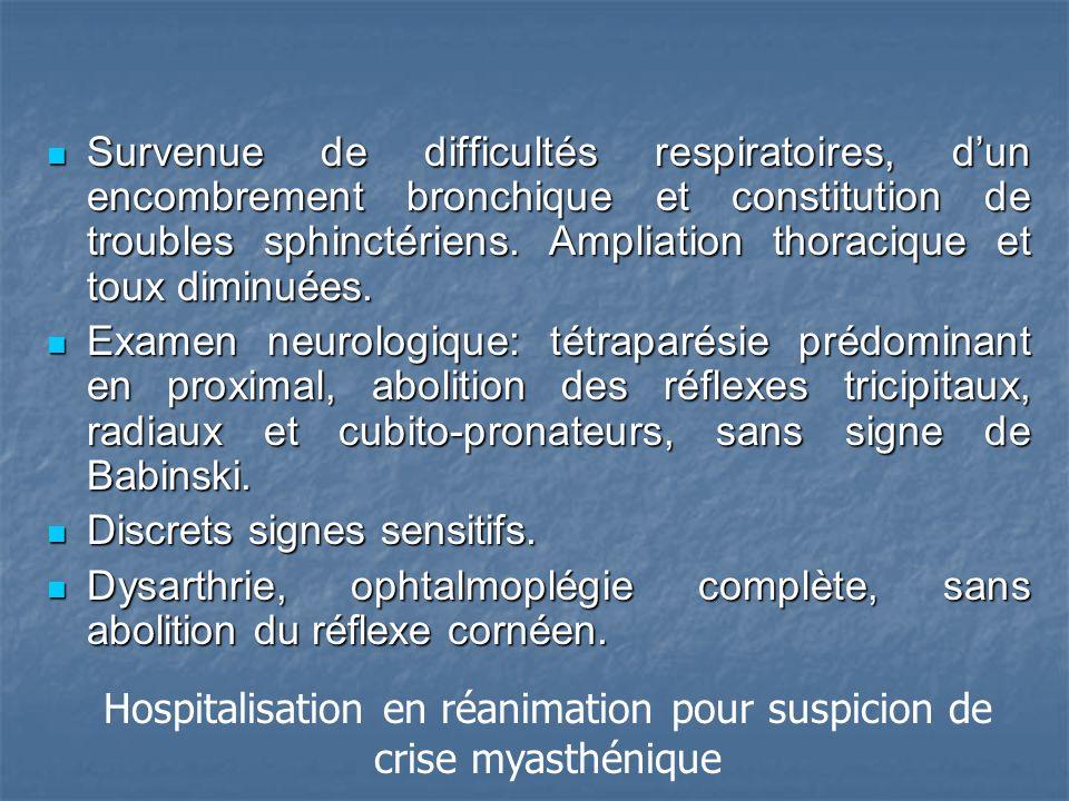 Survenue de difficultés respiratoires, dun encombrement bronchique et constitution de troubles sphinctériens.