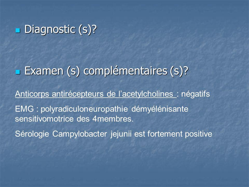 Diagnostic (s).Diagnostic (s). Examen (s) complémentaires (s).
