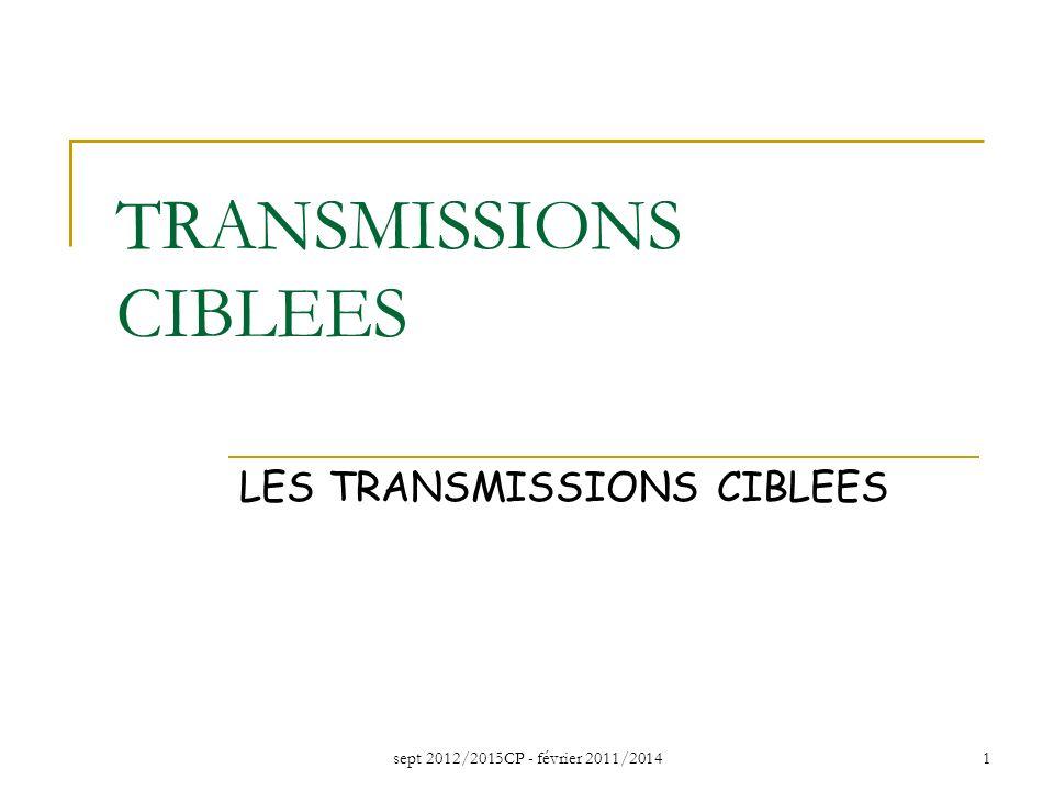 sept 2012/2015CP - février 2011/20141 TRANSMISSIONS CIBLEES LES TRANSMISSIONS CIBLEES