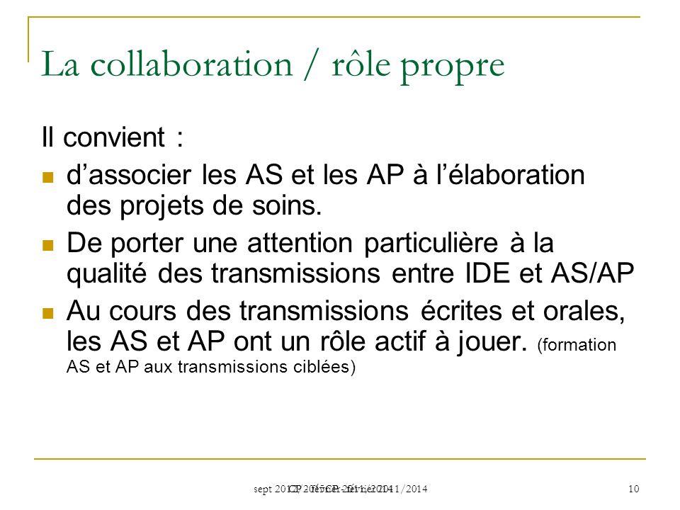 sept 2012/2015CP - février 2011/2014 CP - février 2011/2014 10 La collaboration / rôle propre Il convient : dassocier les AS et les AP à lélaboration des projets de soins.