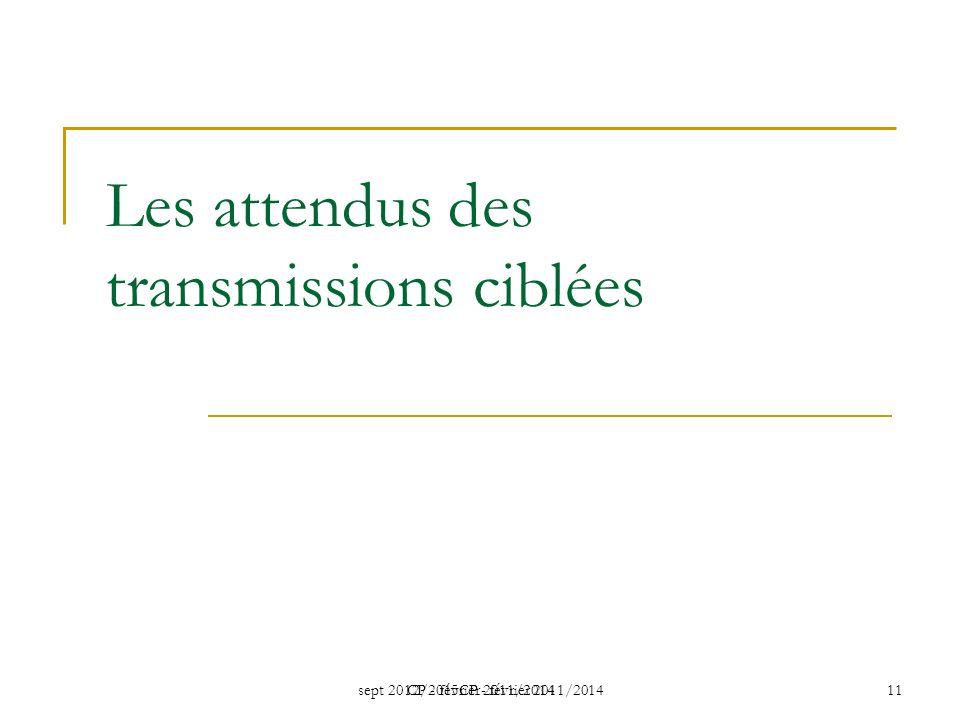 sept 2012/2015CP - février 2011/2014 CP - février 2011/2014 11 Les attendus des transmissions ciblées