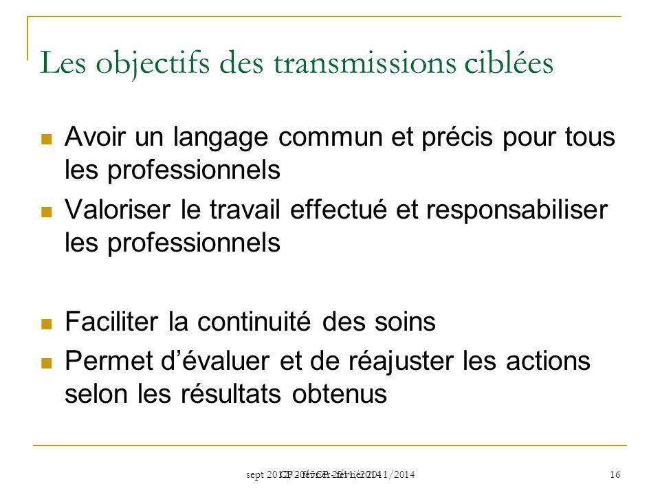 sept 2012/2015CP - février 2011/2014 CP - février 2011/2014 16 Les objectifs des transmissions ciblées Avoir un langage commun et précis pour tous les