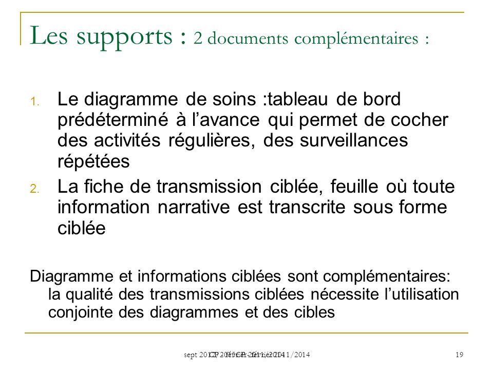sept 2012/2015CP - février 2011/2014 CP - février 2011/2014 19 Les supports : 2 documents complémentaires : 1. Le diagramme de soins :tableau de bord