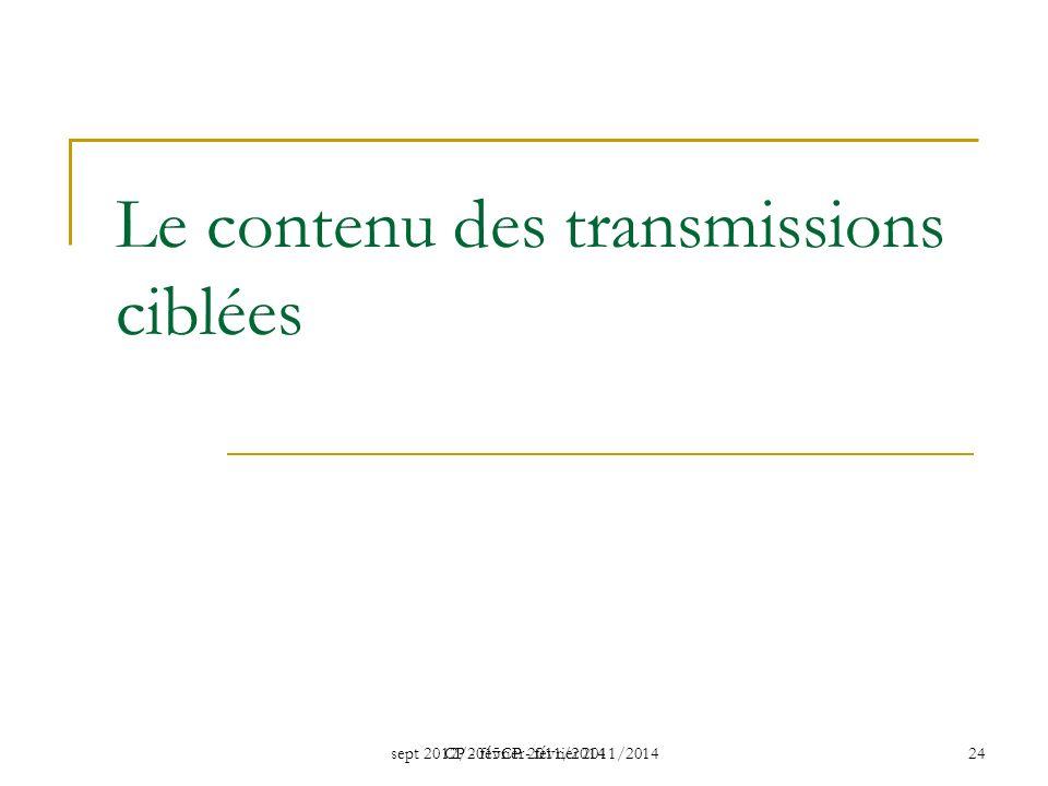 sept 2012/2015CP - février 2011/2014 CP - février 2011/2014 24 Le contenu des transmissions ciblées