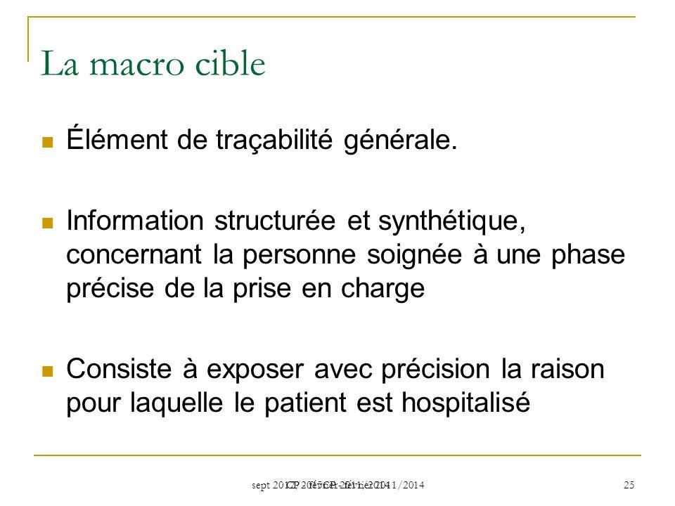 sept 2012/2015CP - février 2011/2014 CP - février 2011/2014 25 La macro cible Élément de traçabilité générale.