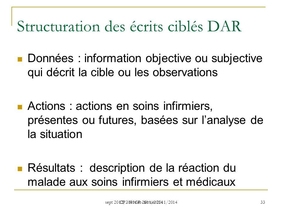 sept 2012/2015CP - février 2011/2014 CP - février 2011/2014 33 Structuration des écrits ciblés DAR Données : information objective ou subjective qui d