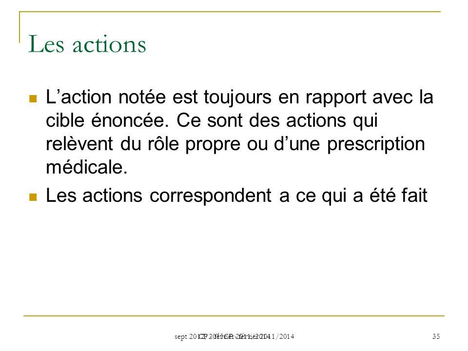 sept 2012/2015CP - février 2011/2014 CP - février 2011/2014 35 Les actions Laction notée est toujours en rapport avec la cible énoncée. Ce sont des ac