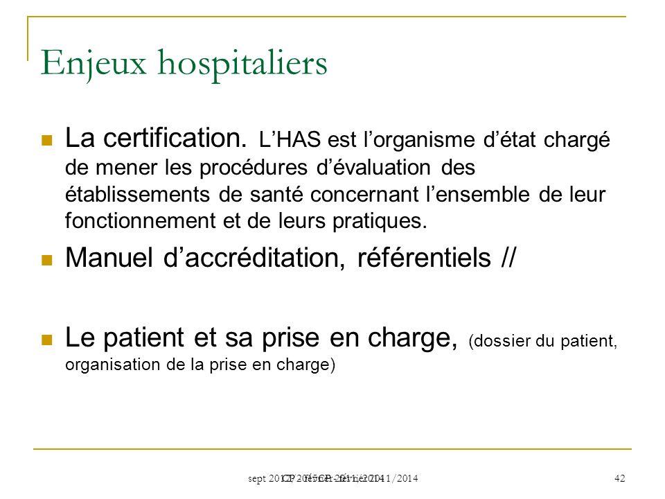 sept 2012/2015CP - février 2011/2014 CP - février 2011/2014 42 Enjeux hospitaliers La certification.