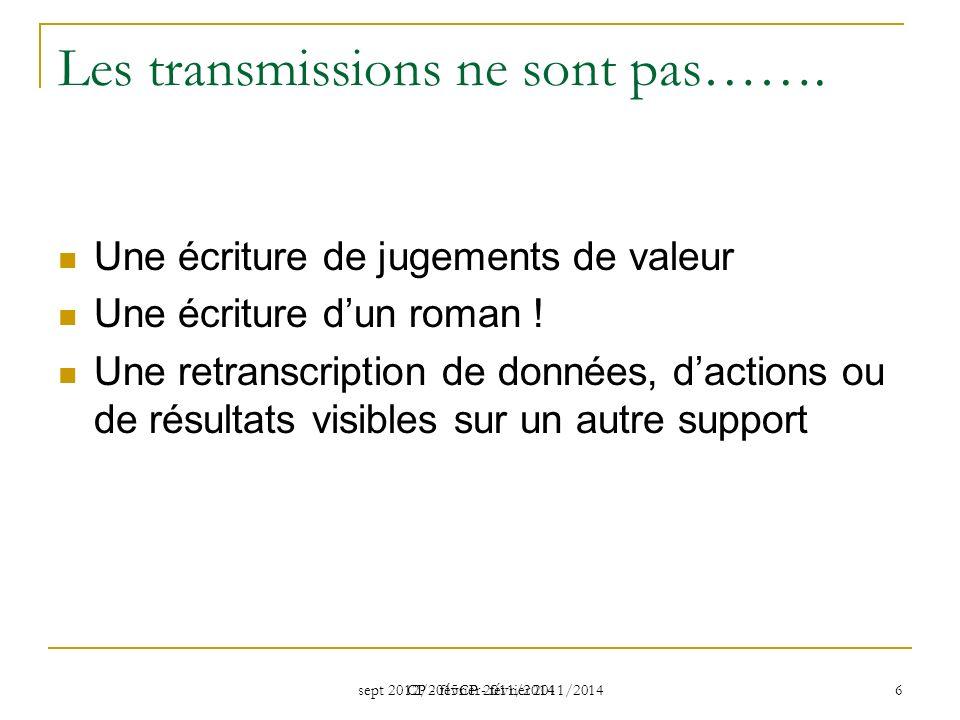 sept 2012/2015CP - février 2011/2014 CP - février 2011/2014 6 Les transmissions ne sont pas…….