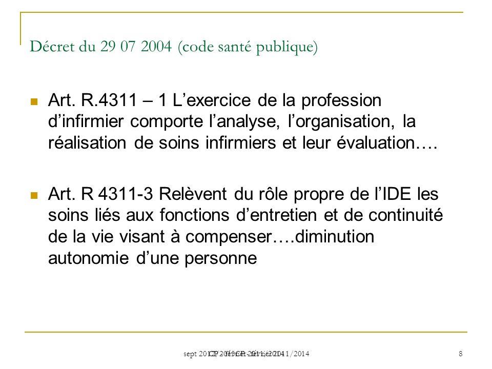 sept 2012/2015CP - février 2011/2014 CP - février 2011/2014 8 Décret du 29 07 2004 (code santé publique) Art. R.4311 – 1 Lexercice de la profession di