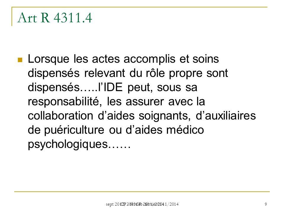 sept 2012/2015CP - février 2011/2014 CP - février 2011/2014 9 Art R 4311.4 Lorsque les actes accomplis et soins dispensés relevant du rôle propre sont