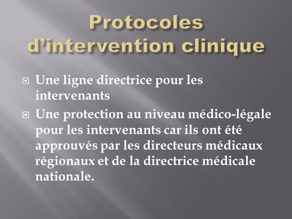 Une ligne directrice pour les intervenants Une protection au niveau médico-légale pour les intervenants car ils ont été approuvés par les directeurs médicaux régionaux et de la directrice médicale nationale.