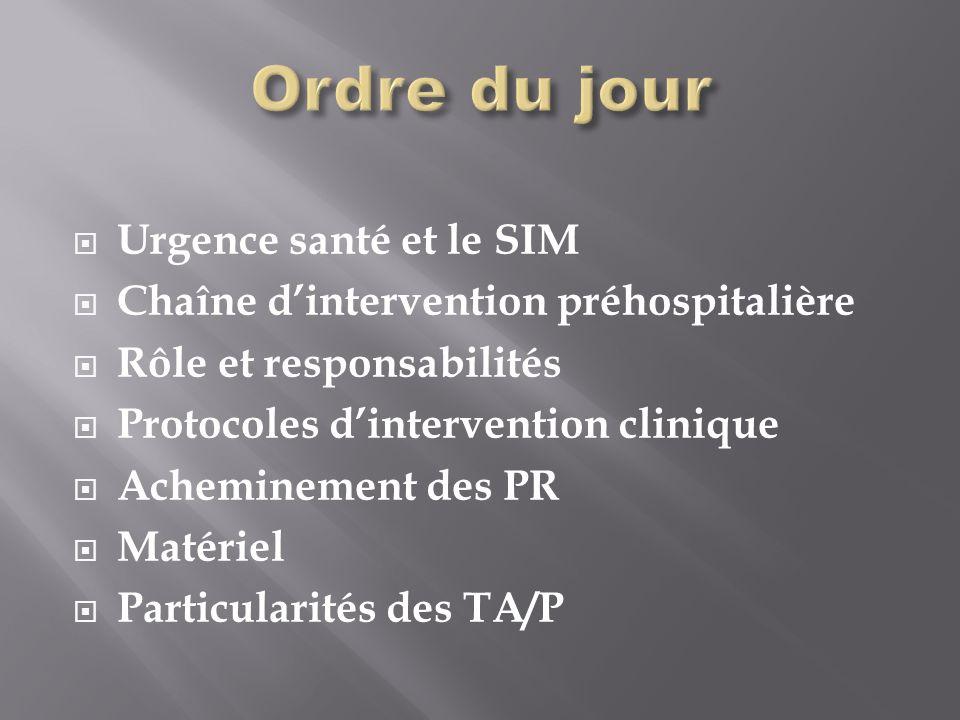 Urgence santé et le SIM Chaîne dintervention préhospitalière Rôle et responsabilités Protocoles dintervention clinique Acheminement des PR Matériel Particularités des TA/P