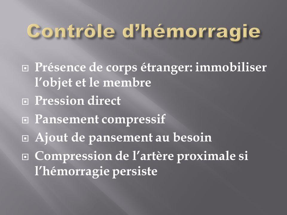 Présence de corps étranger: immobiliser lobjet et le membre Pression direct Pansement compressif Ajout de pansement au besoin Compression de lartère proximale si lhémorragie persiste