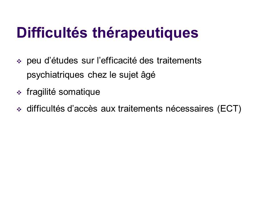Difficultés thérapeutiques peu détudes sur lefficacité des traitements psychiatriques chez le sujet âgé fragilité somatique difficultés daccès aux tra