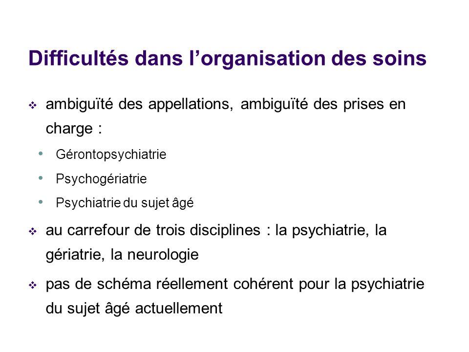 ambiguïté des appellations, ambiguïté des prises en charge : Gérontopsychiatrie Psychogériatrie Psychiatrie du sujet âgé au carrefour de trois discipl