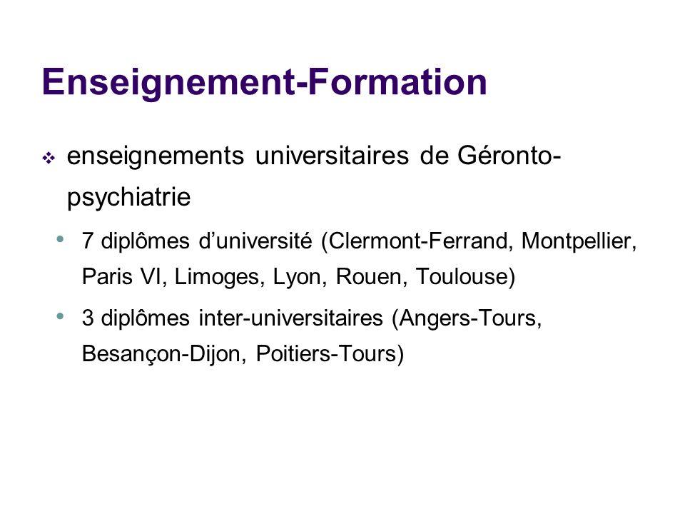 Enseignement-Formation enseignements universitaires de Géronto- psychiatrie 7 diplômes duniversité (Clermont-Ferrand, Montpellier, Paris VI, Limoges,