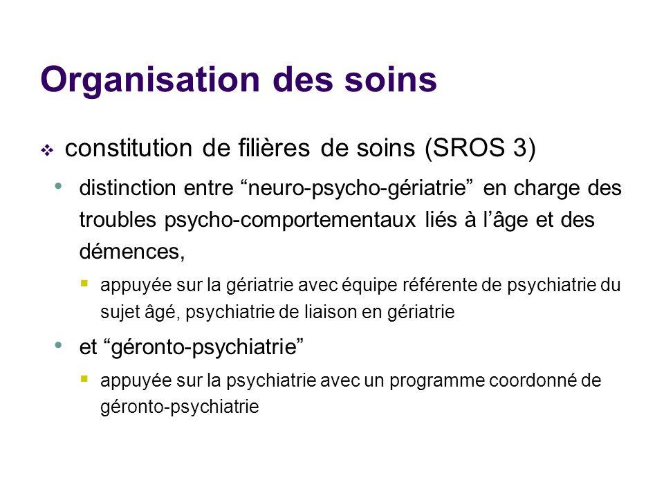 Organisation des soins constitution de filières de soins (SROS 3) distinction entre neuro-psycho-gériatrie en charge des troubles psycho-comportementa