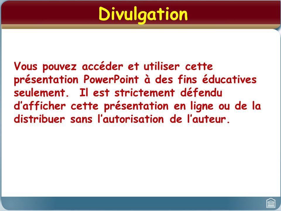 Vous pouvez accéder et utiliser cette présentation PowerPoint à des fins éducatives seulement.