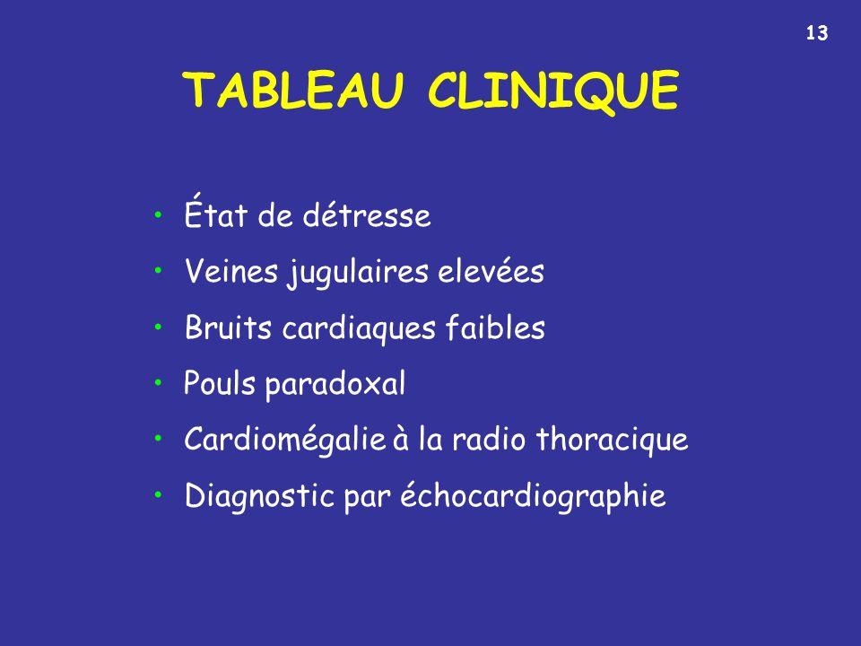 TABLEAU CLINIQUE État de détresse Veines jugulaires elevées Bruits cardiaques faibles Pouls paradoxal Cardiomégalie à la radio thoracique Diagnostic par échocardiographie 13