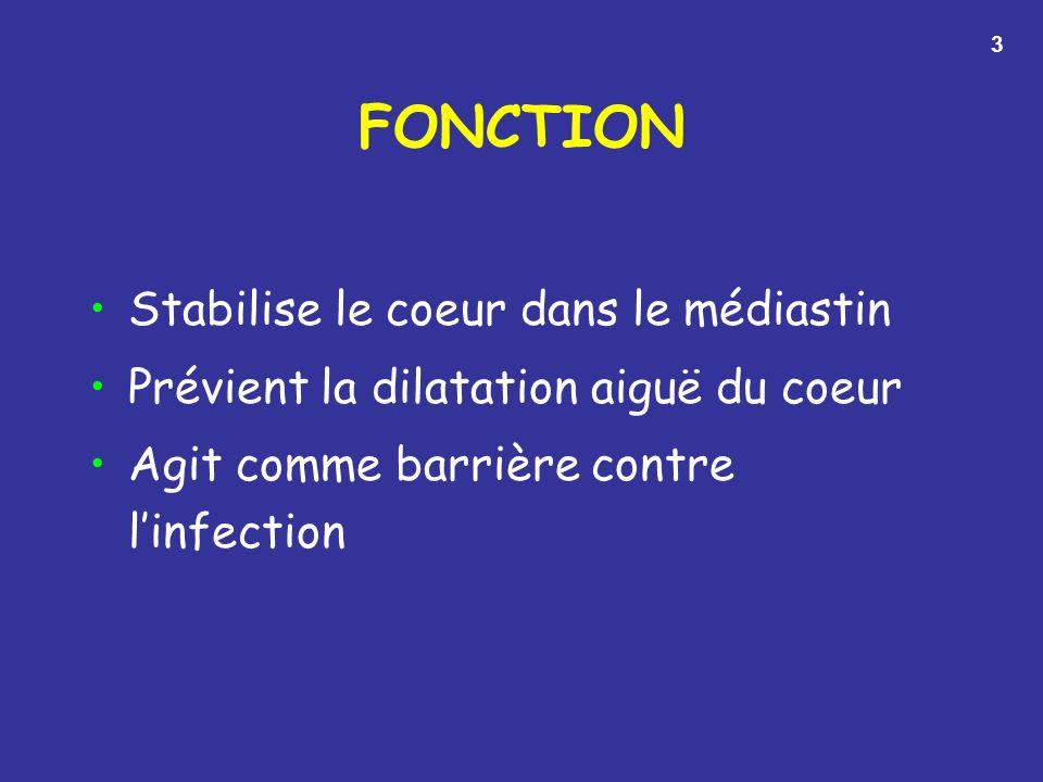 FONCTION Stabilise le coeur dans le médiastin Prévient la dilatation aiguë du coeur Agit comme barrière contre linfection 3