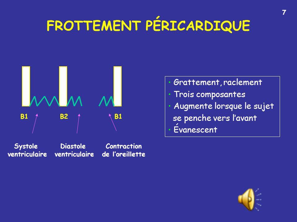 FROTTEMENT PÉRICARDIQUE B1 B2 Grattement, raclement Trois composantes Augmente lorsque le sujet se penche vers lavant Évanescent Systole ventriculaire Diastole ventriculaire Contraction de loreillette 7