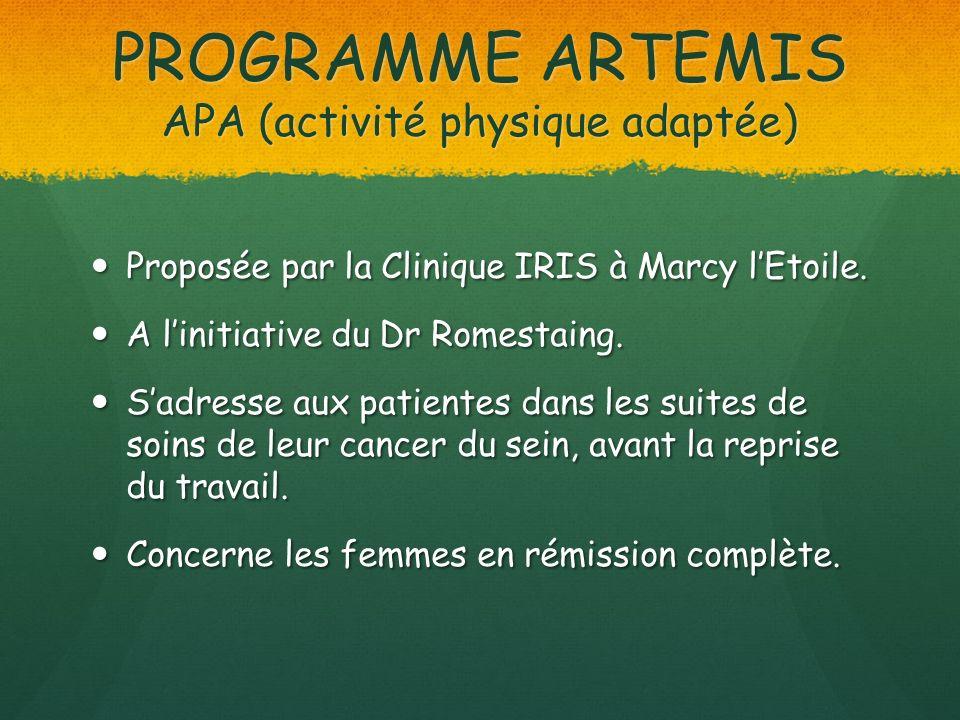 PROGRAMME ARTEMIS APA (activité physique adaptée) Proposée par la Clinique IRIS à Marcy lEtoile. Proposée par la Clinique IRIS à Marcy lEtoile. A lini