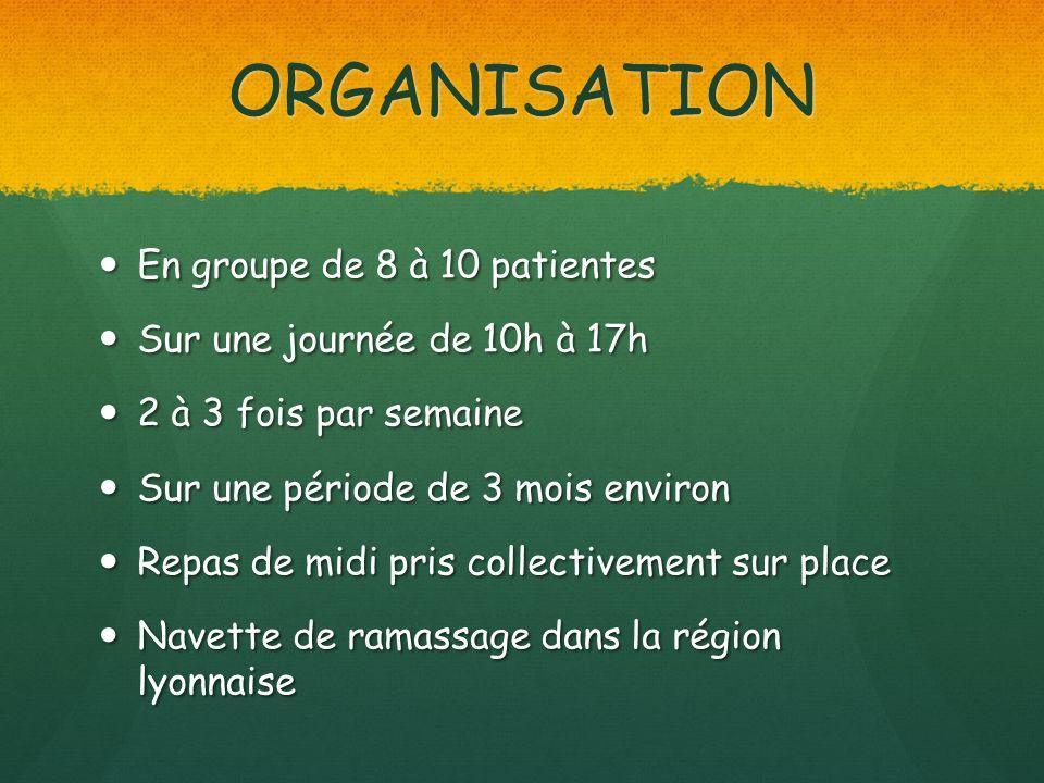 ORGANISATION En groupe de 8 à 10 patientes En groupe de 8 à 10 patientes Sur une journée de 10h à 17h Sur une journée de 10h à 17h 2 à 3 fois par sema