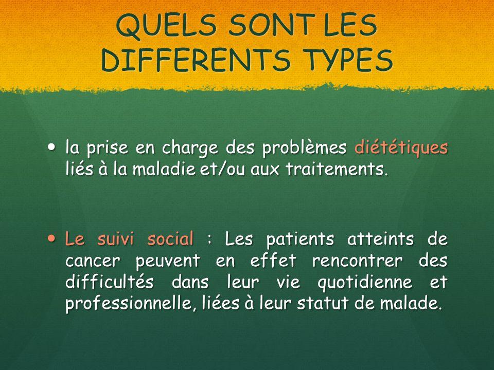 QUELS SONT LES DIFFERENTS TYPES la prise en charge des problèmes diététiques liés à la maladie et/ou aux traitements. la prise en charge des problèmes