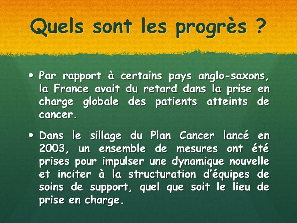 Quels sont les progrès ? Par rapport à certains pays anglo-saxons, la France avait du retard dans la prise en charge globale des patients atteints de