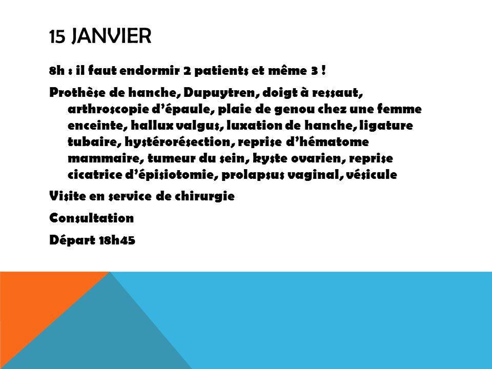 15 JANVIER 8h : il faut endormir 2 patients et même 3 ! Prothèse de hanche, Dupuytren, doigt à ressaut, arthroscopie dépaule, plaie de genou chez une