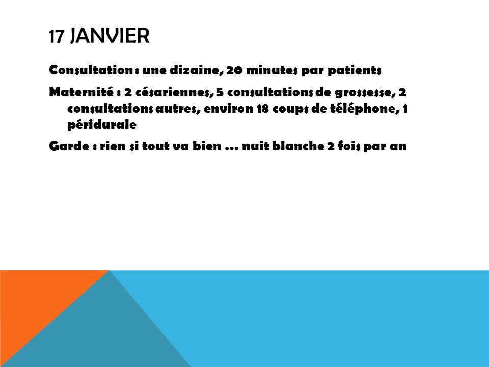 17 JANVIER Consultation : une dizaine, 20 minutes par patients Maternité : 2 césariennes, 5 consultations de grossesse, 2 consultations autres, enviro