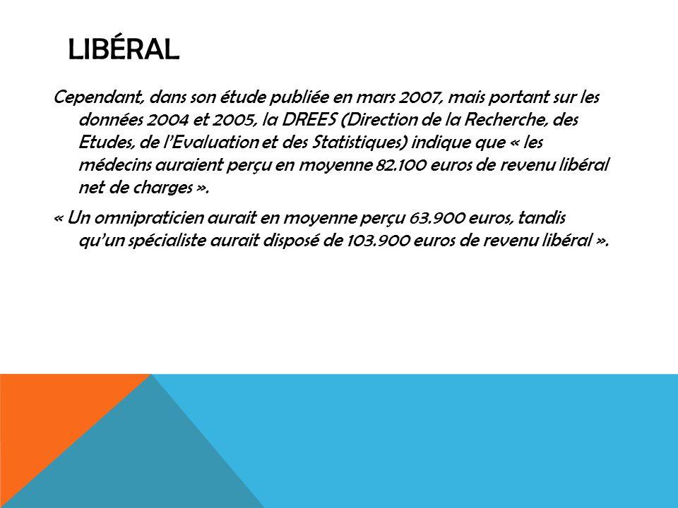 LIBÉRAL Cependant, dans son étude publiée en mars 2007, mais portant sur les données 2004 et 2005, la DREES (Direction de la Recherche, des Etudes, de