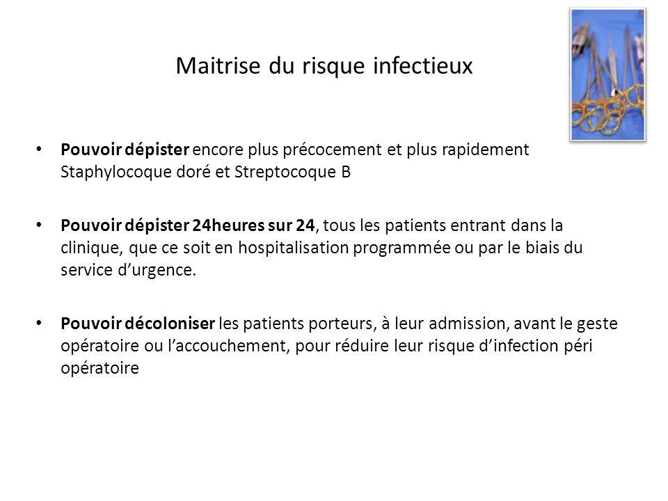 Maitrise du risque infectieux Pouvoir dépister encore plus précocement et plus rapidement Staphylocoque doré et Streptocoque B Pouvoir dépister 24heur