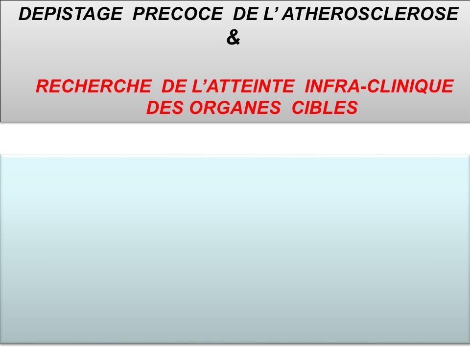 Dépistage atteinte des organes cibles Examen à utiliser en routine Encourager lutilisation des examens échographiques