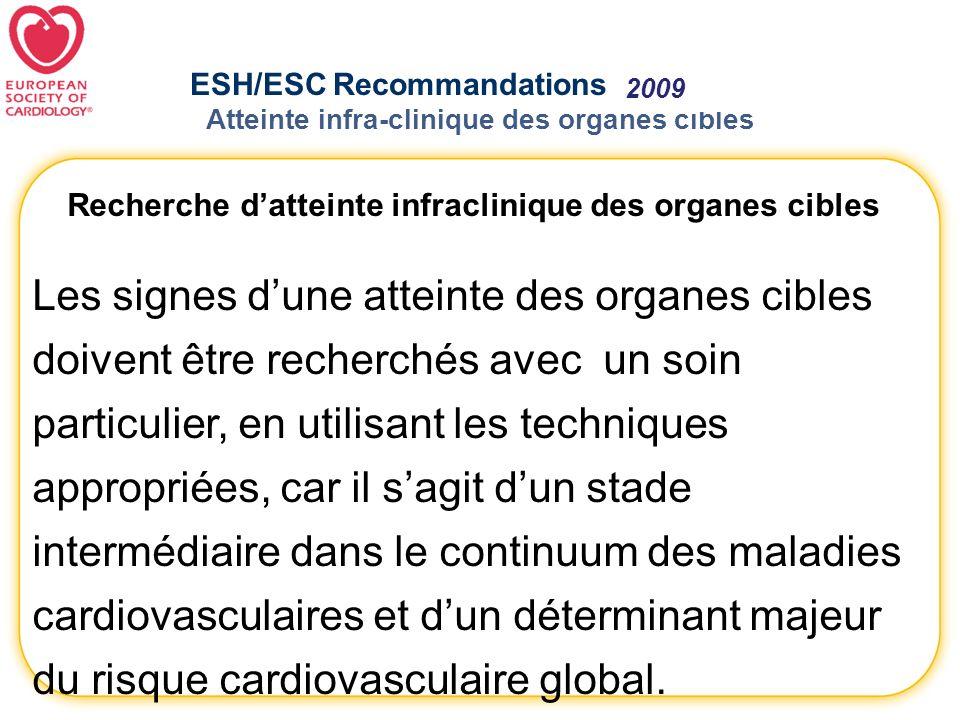 ESH/ESC Recommandations 2007- 2009 Atteinte infra-clinique des organes cibles Recherche datteinte infraclinique des organes cibles Les signes dune att